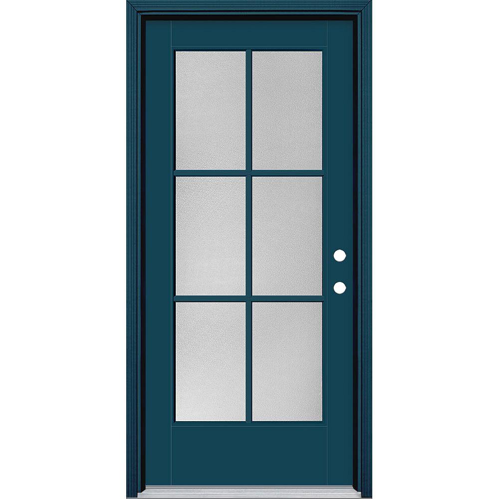 Masonite Porte en fibre de verre lisse Vista Grande Bleu 36 po x 80 po 6 CARREAUX Pear Main Gauche