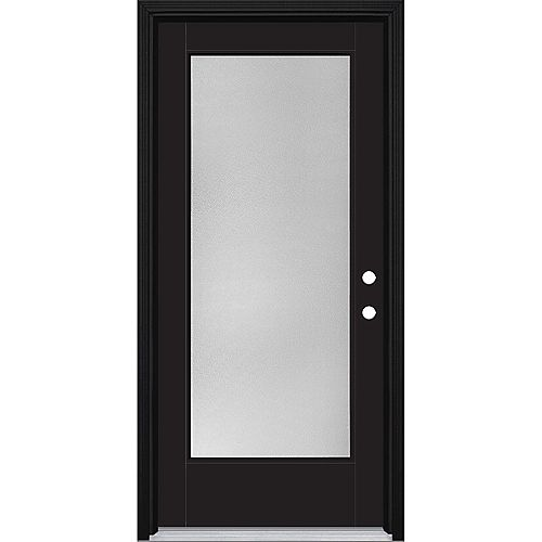 Porte d'entrée prémontée plein verre Pear VistaGrande, 36 po x 80 po, fibre de verre lisse, peinte noire
