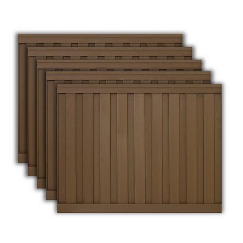 Kit de 5 Panneaux de Clôture Trex Seclusions Brun Amande de 6 pieds X 8 pieds