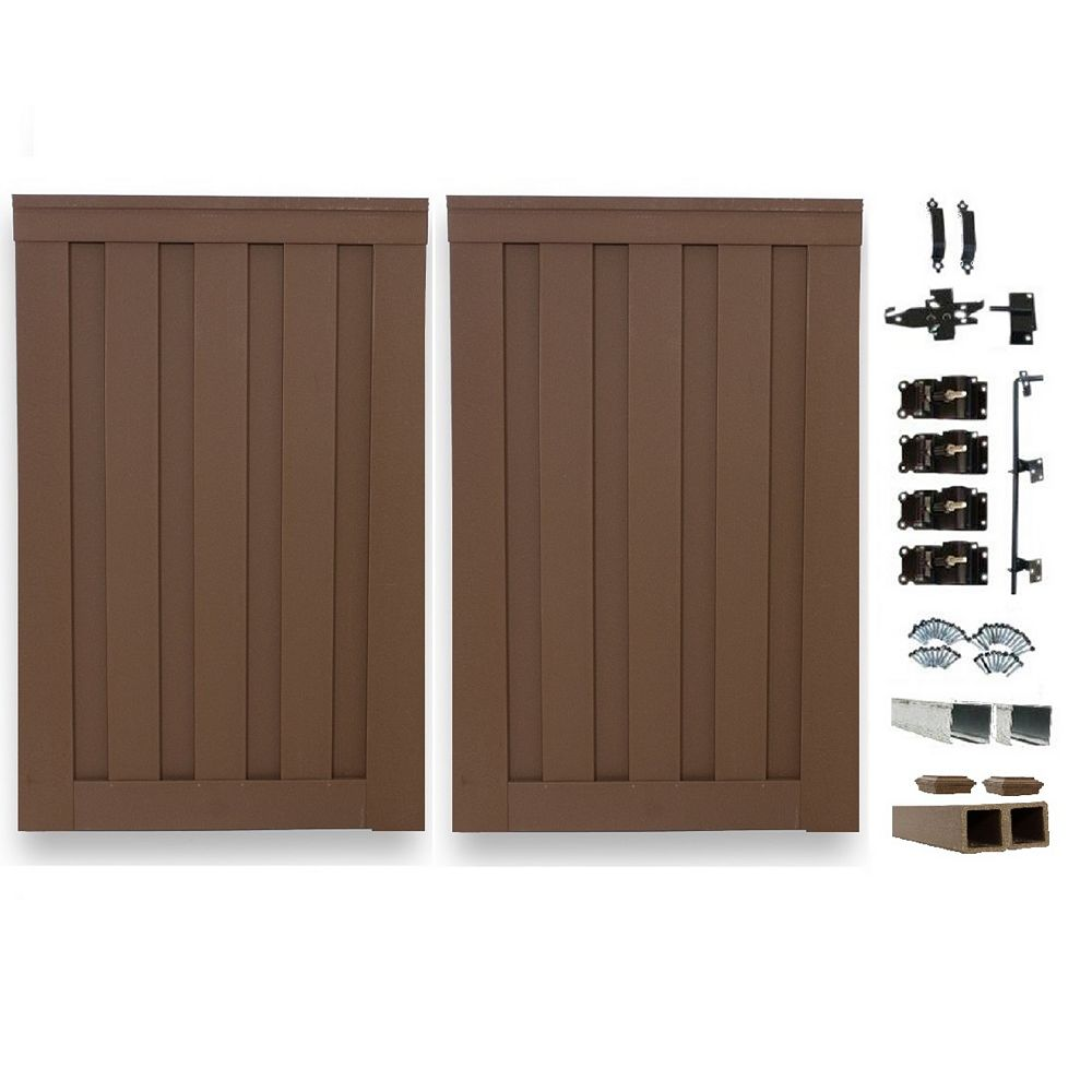 Trex Fencing 8 Ft. x 6 Ft. Trex Seclusions Saddle Brown Double Gate Panel Kit with Posts And Gate Hardware