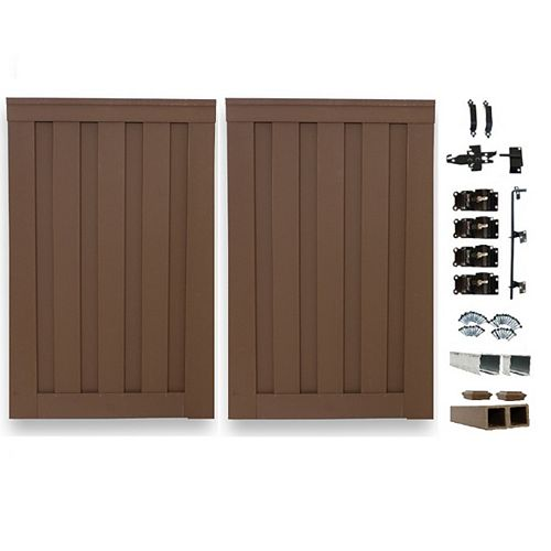 8 Ft. x 6 Ft. Trex Seclusions Saddle Brown Double Gate Panel Kit with Posts And Gate Hardware