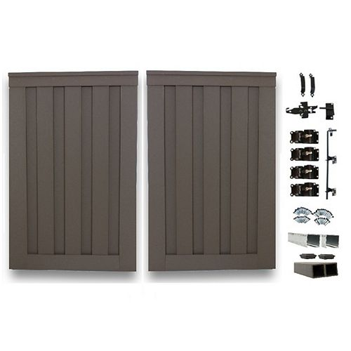 8 Ft. x 6 Ft. Trex Seclusions Winchester Grey Double Gate Panel Kit with Posts And Gate Hardware