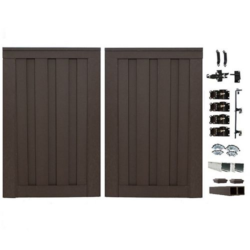 8 Ft. x 6 Ft. Trex Seclusions Woodland Brown Double Gate Panel Kit with Posts And Gate Hardware