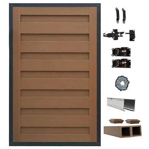 4 Ft. x 6 Ft. Trex Horizons Saddle Brown Single Gate Panel Kit with Posts And Gate Hardware