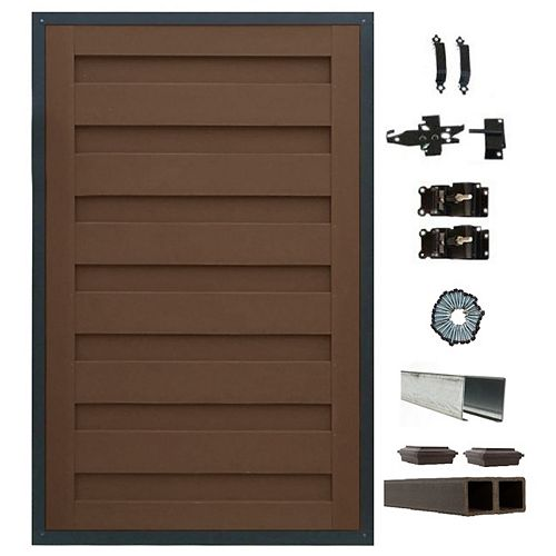 Trex Fencing 4 Ft. x 6 Ft. Trex Horizons Woodland Brown Single Gate Panel Kit with Posts And Gate Hardware