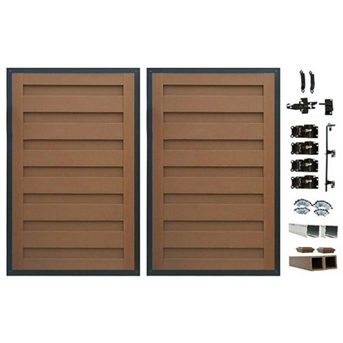 8 Ft. x 6 Ft. Trex Horizons Saddle Brown Double Gate Panel Kit with Posts And Gate Hardware