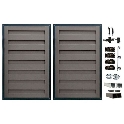 8 Ft. x 6 Ft. Trex Horizons Winchester Grey Double Gate Panel Kit with Posts And Gate Hardware