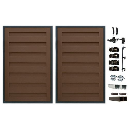 8 Ft. x 6 Ft. Trex Horizons Woodland Brown Double Gate Panel Kit with Posts And Gate Hardware