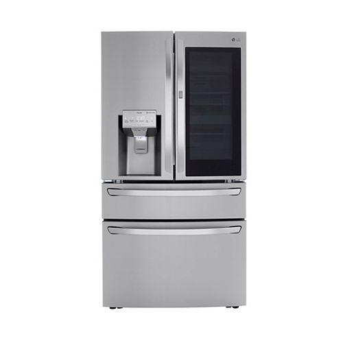 Réfrigérateur intelligent à porte française de 36 pouces W 24 pieds cubes avec InstaView Door-in-Door® et Wi-Fi en acier inoxydable résistant aux taches, à contre-profondeur - ENERGY STAR