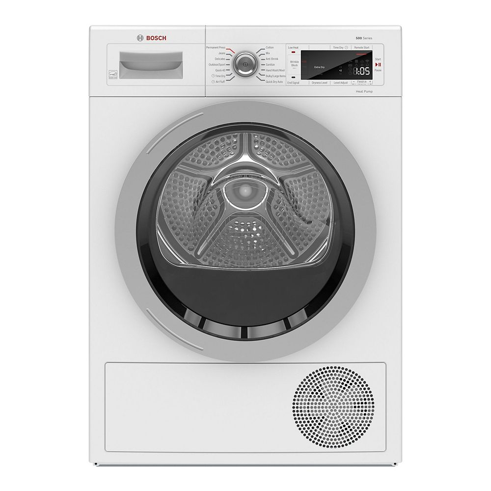 Bosch 500 Series 24-Inch 4.0 cu.ft. Smart Heat Pump Dryer with Home Connect - ENERGY STAR® - Plug Adaptor Included