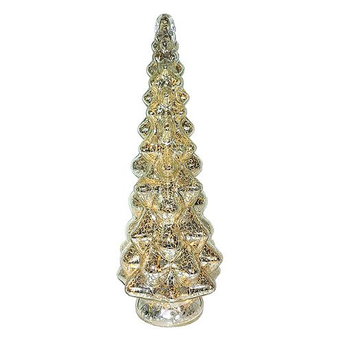 15.5-inch LED-Lit Glass Tree Christmas Decoration with Timer