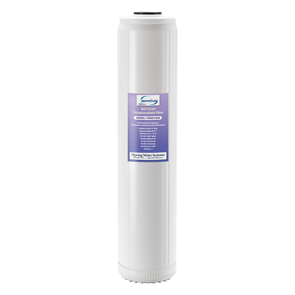 iSpring FWDS150K 20 x 4.5 Water Filter Cartridges - Anti Scale Filter with Patented Scale Prohibitor