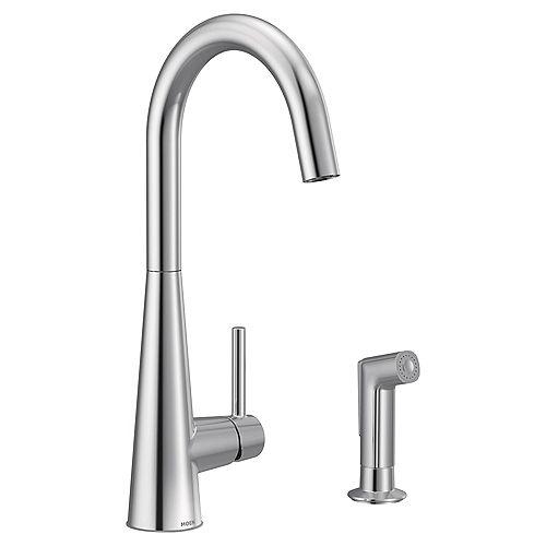 Sleek Single-Handle High Arc Pulldown Kitchen Faucet In Chrome