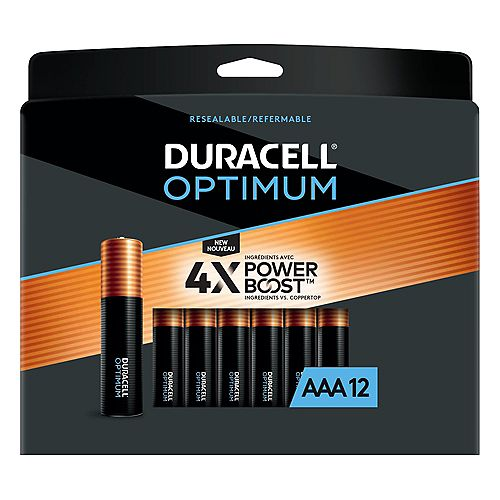 Duracell Optimum 1.5V Alkaline AAA Batteries, Convenient, Resealable Package, 12 count