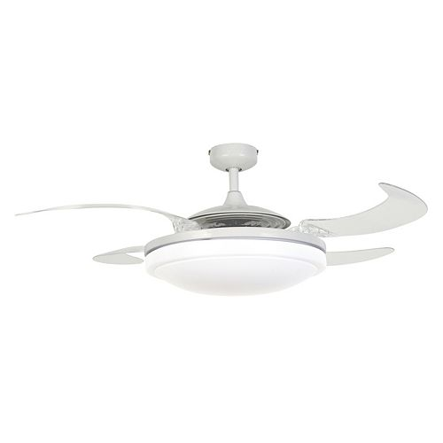 Fanaway Evo2 White Retractable 4-blade Lighting with Remote Ceiling Fan