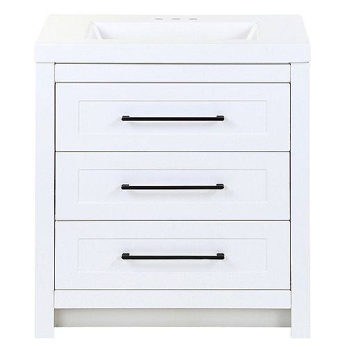 Genta 30.5 in. W x 18.9 in. D x 34.4 in. H Vanity in White with Cultured Marble Vanity Top in White