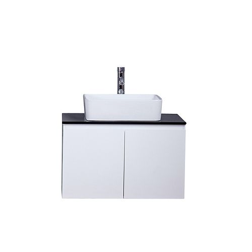 Giulia Vanity White with Porcelain Top, 30 inch