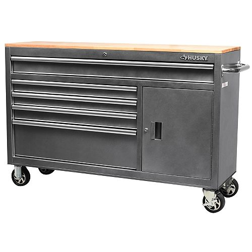 56 inch 5-Drawer Mobile Work Center in Metallic Silver
