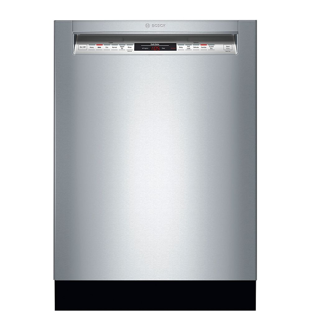 Bosch 800 Series 24-inch Front Control Dishwasher in Stainless Steel, 3rd Rack, 42dBA, CrystalDry