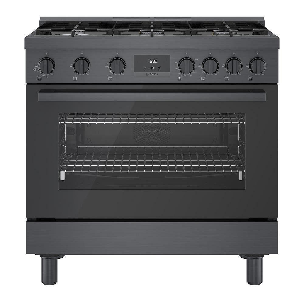 Bosch 36 inch Industrial Style Black Stainless Steel Gas Range