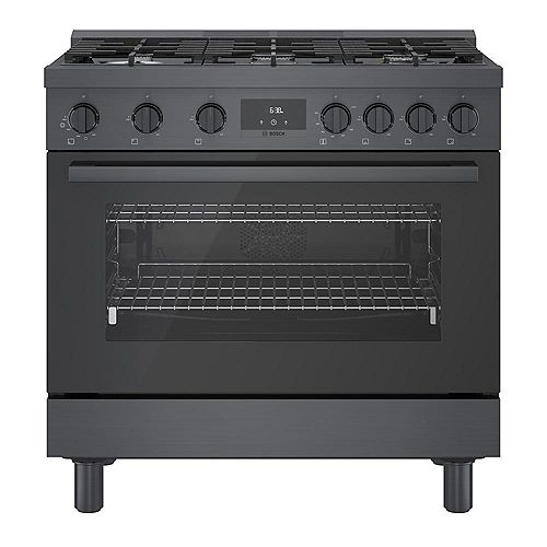 Bosch 36 inch Industrial Style Black Stainless Steel Gas Range