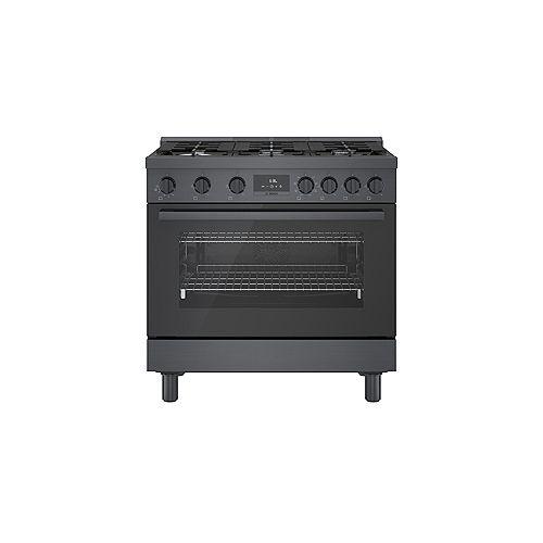 36 inch Industrial Style Black Stainless Steel Dual-Fuel Range
