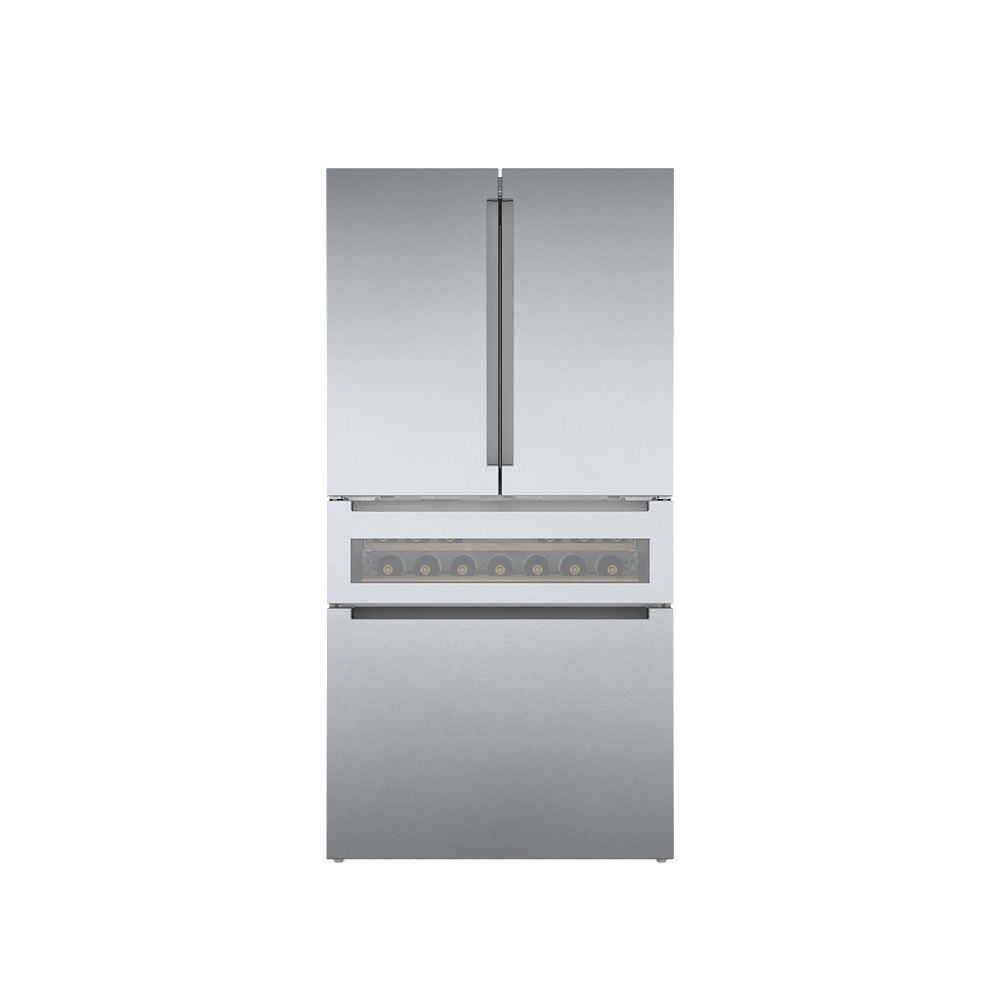 Bosch 800 Series 36-inch 20.5 cu.ft. Smart Counter-Depth French Door Refreshment Center with Home Connect in Stainless Steel - ENERGY STAR®