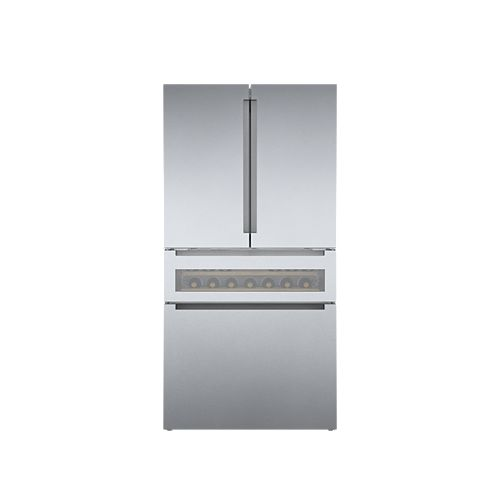 Bosch 800 Series 36-inch 20.5 cu.ft. Smart Counter-Depth French Door Refreshment Center with Home Connect in Stainless Steel