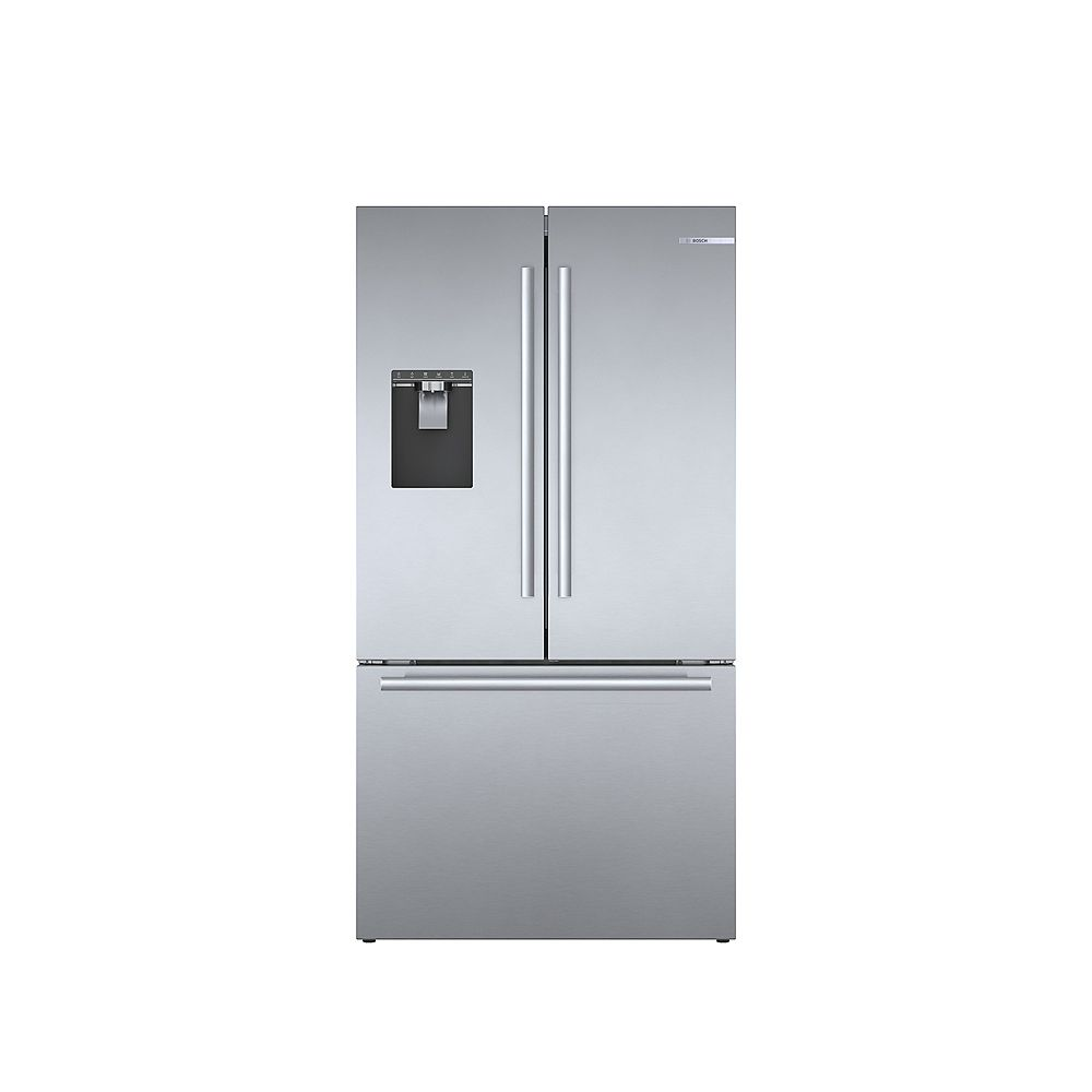 Bosch 500 Series 36-inch 21.6 cu.ft. Smart Counter-Depth French Door Refrigerator with Home Connect in Stainless Steel - ENERGY STAR®