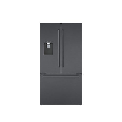 Bosch 500 Series 36-inch 21.6 cu.ft. Smart Counter-Depth French Door Refrigerator with Home Connect in Black Stainless Steel