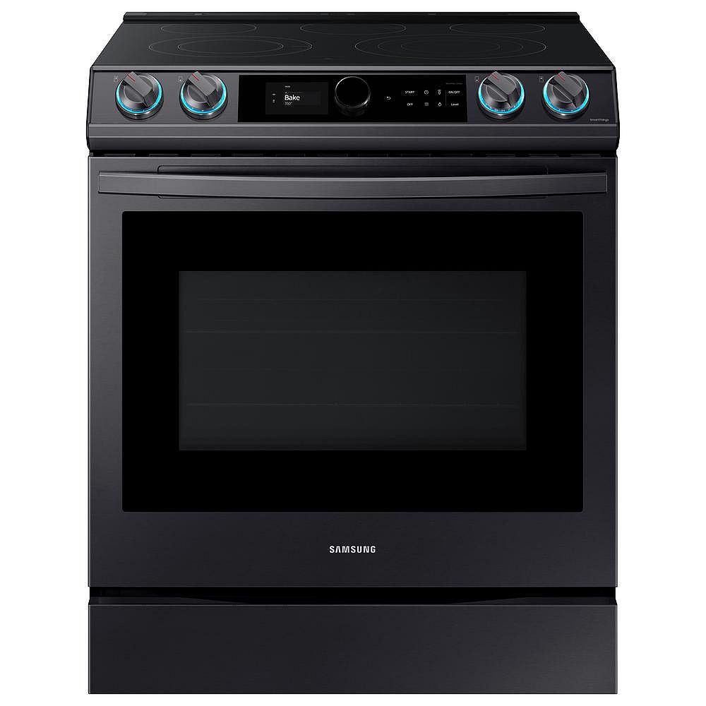 Samsung 6.3 cu.ft. Single Oven Slide-In Electric Range with Self-Cleaning Oven and Air Fry in Black Stainless Steel