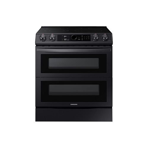 Samsung 6.3 cu.ft. Double Oven Slide-In Electric Range with Self-Cleaning Oven and Air Fry in Black Stainless Steel