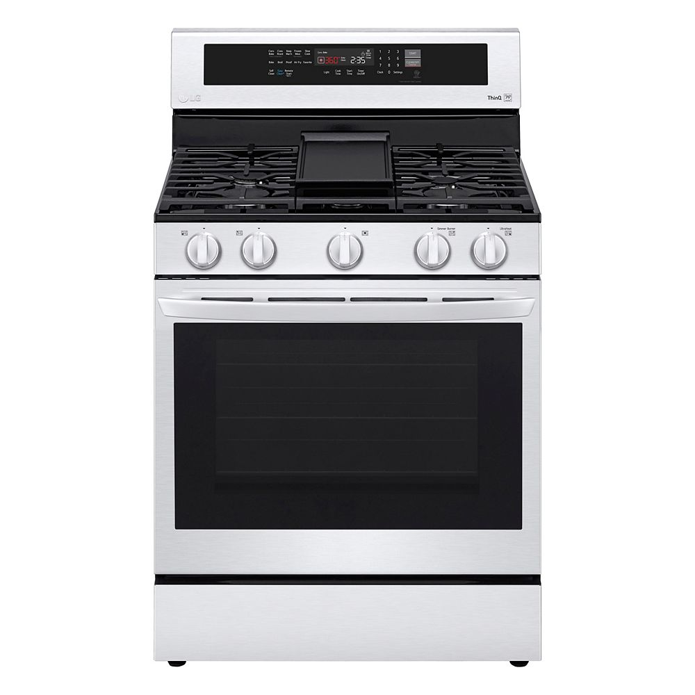 Lg Electronics 5 8 Cu Ft Smart Gas Range With Instaview Air Fry And Wi Fi In Stainless The Home Depot Canada