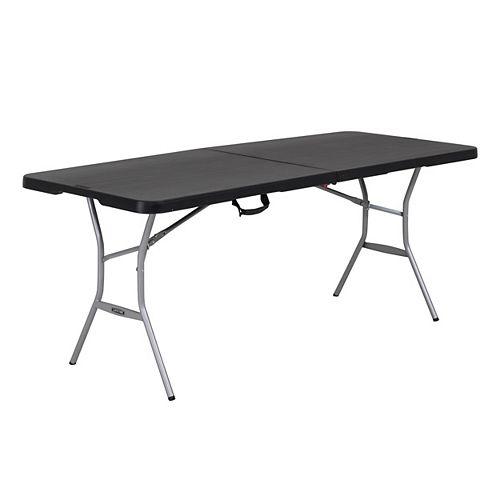 Lifetime 6 ft. Black Resin Fold-in-Half Folding Table