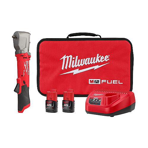 Milwaukee Tool M12 FUEL Lithium-Ion Brushless Cordless 3/8-inch Right Angle Impact Wrench Kit w (2) 2.0Ah Batteries