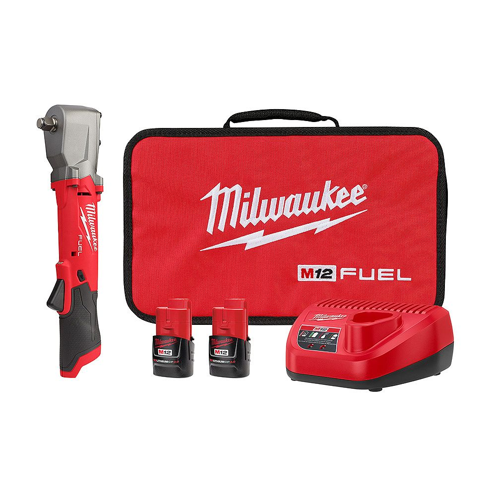 Milwaukee Tool M12 FUEL 12V Brushless Cordless 1/2 -inch Right Angle Impact Wrench Kit with (2) 2.0Ah Batteries