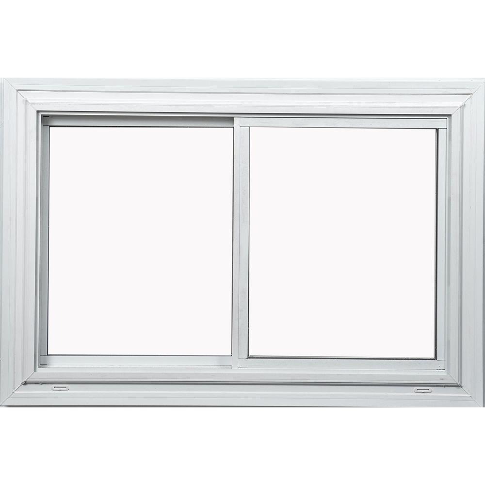 Farley Windows 36 Po x 30 Po  Fenêtre blanche coulissante double avec technologie Vertex3 et Energy Star