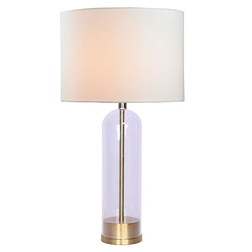 Lampe de Table 27'' Base en Verre/Or Industriel