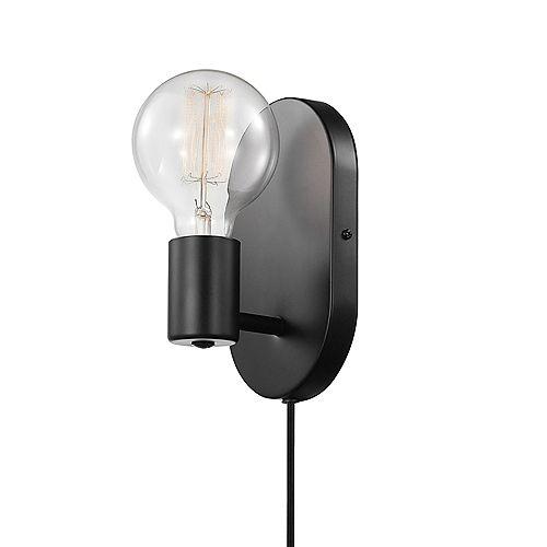 Applique murale enfichable ou câblée à 1 lumière Novogratz x Globe en de couleur noir mat