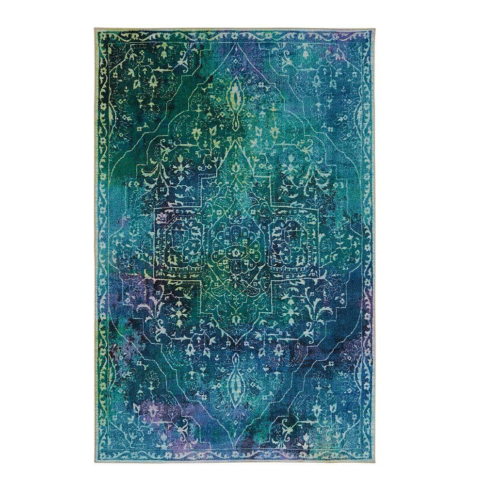 Mohawk Home Rowland bleu-vert 152 cm x 244 cm (5 pi x 8 pi)dintérieur Tapis