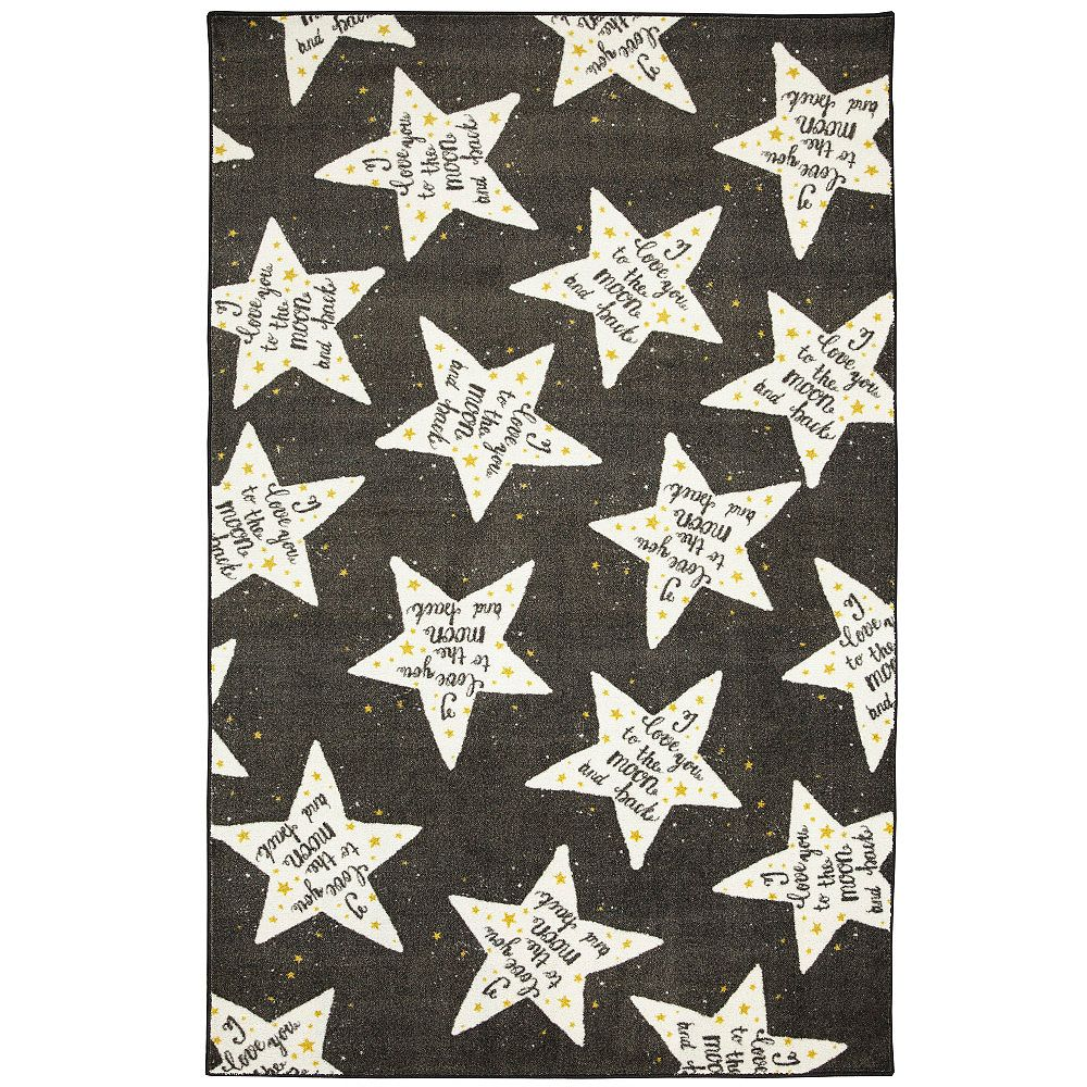 Mohawk Home To The Moon Black White 3 ft. 4-inch x 5 ft. Indoor Area Rug