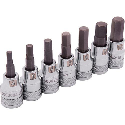3/8 inch Drive 7 Piece Metric, Standard Hex Socket Set, 4mm - 10mm