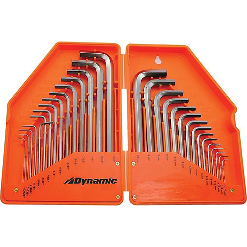 30 Piece SAE & Metric Hex Key Set, .028 inch - 3/8 inch & .7mm - 10mm