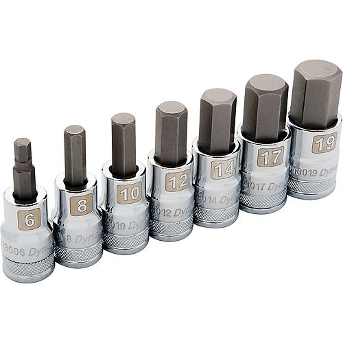 1/2 inch Drive 7 Piece, Metric Standard, Hex Socket Set, 6mm - 19mm