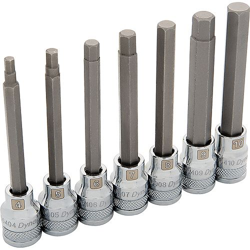 3/8 inch Drive 7 Piece Metric, Long Hex Socket Set, 4mm - 10mm