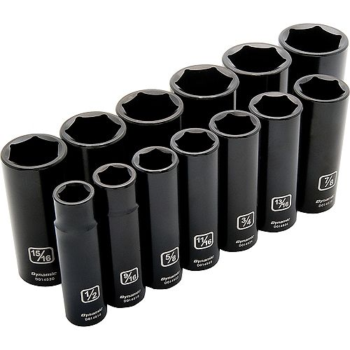1/2 inch Drive 13 Piece 6 Point, Deep Impact, SAE Socket Set, 1/2 inch - 1-1/4 inch
