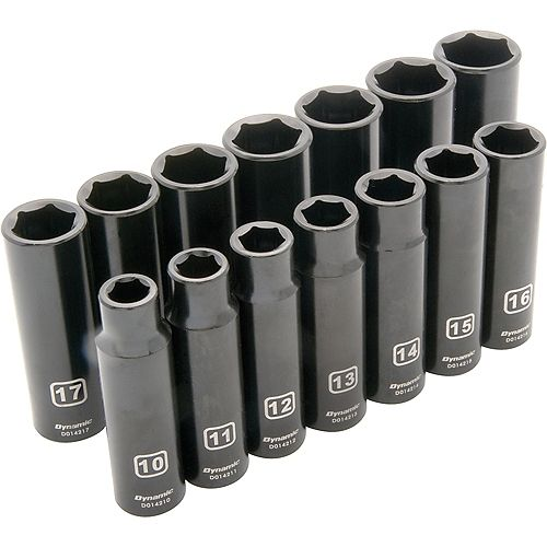 1/2 inch Drive 14 Piece 6 Point, Deep Impact, Metric Socket Set, 10mm - 23mm