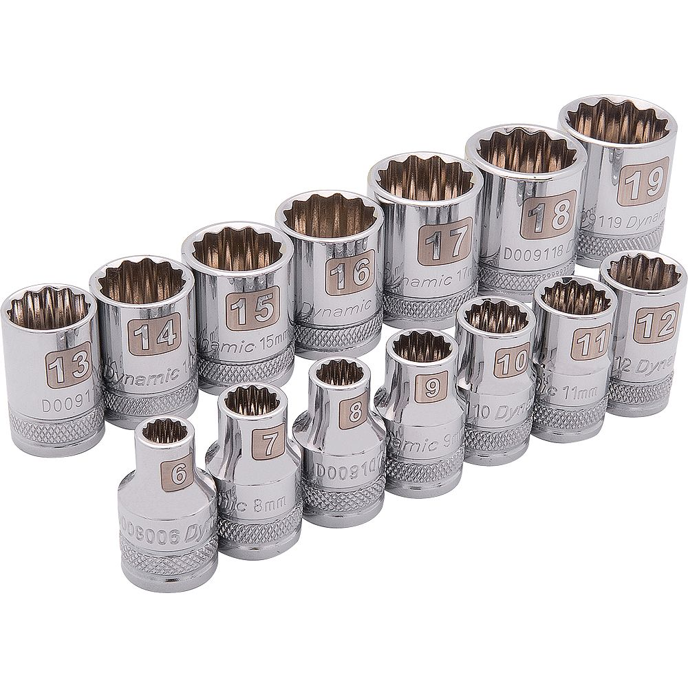DYNAMIC TOOLS 3/8 inch Drive 14 Piece 12 Point, Standard Metric Socket Set, 6mm - 19mm