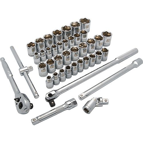 DYNAMIC TOOLS 1/2 inch Drive 41 Piece 6 Point Standard, SAE/Metric Socket Set, 3/8 inch - 1-5/16 inch, 10mm - 28mm