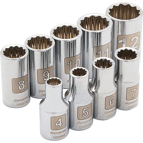 1/4 inch Drive 9 Piece 12 Point, Standard Metric Socket Set, 4mm - 12mm